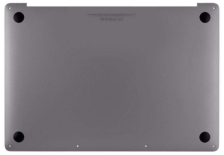 Bottom Case, Space Gray for MacBook Pro 15-inch, 2017 Model: A1707 Order: MPTR2LL/A, MPTT2LL/A, BTO/CTO Identifier: MacBookPro14,3 Release date: 5-Jun-17