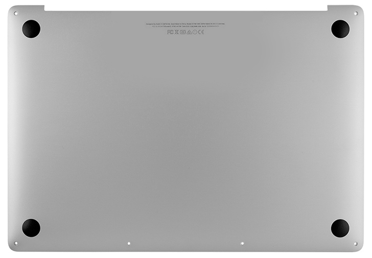 Bottom Case, Silver for MacBook Pro 15-inch, 2017 Model: A1707 Order: MPTR2LL/A, MPTT2LL/A, BTO/CTO Identifier: MacBookPro14,3 Release date: 5-Jun-17